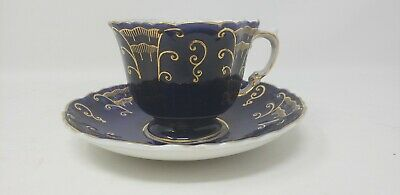 Aynsley Teacup & Sauser Deep Blue &  Gold