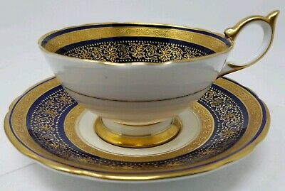 Aynsley Teacup & Saucer Cobalt Blue & Gold Encrusted Artist Signed G. BENTLEY