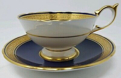 Aynsley Teacup & Saucer Cobalt Blue & Gold Encrusted