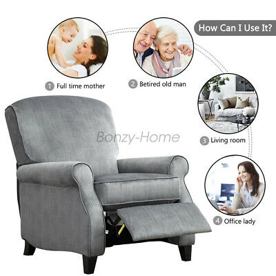 Manual Recliner Chair Fabric Push Back Armchair Thick Backrest Padded Seat Sofa