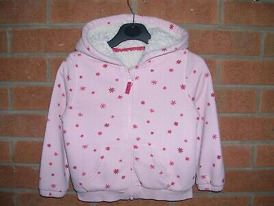 MARKS & SPENCER Girls Pink Jersey Fleece Lined Hooded Zip Jacket Age 3-4 104cm