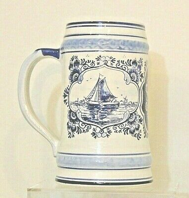 Delfts Blue Beer Stein Hand Painted Holland Ship Windmill Vintage Collectible