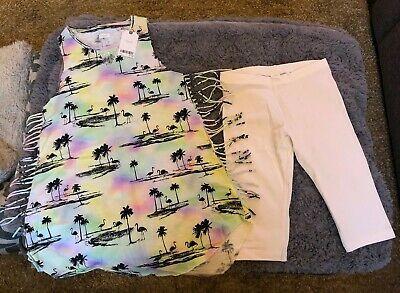 BNWT Next Girls Summer Tunic And White Cropped Leggings Outfit Age 10