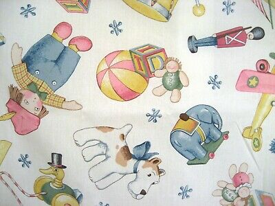Daisy Kingdom Vintage Toy Treasures Fabric 1.09 Yd Pastel Cotton Baby Quilt Back