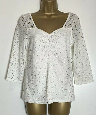 Dorothy Perkins Sample Ivory Lined Jersey Lace Top Size 10 Tall