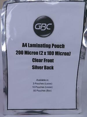 A4 Laminating Pouch 200 micron Finish - Clear Front / Silver Back GBC