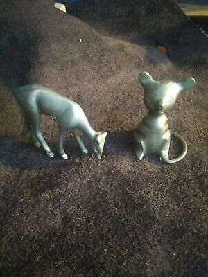 Vintage Brass Sitting Mice Mouse and Doe Deer.