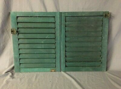 Small Pair 16x20 Antique House Window Wood Louvered Green Shutters VTG  181-20B