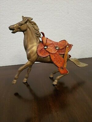 Vintage Brass Horse With Leather Saddle