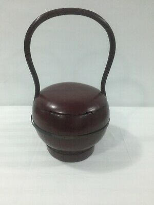 Antique Chinese Lacquered Wood Wedding Basket