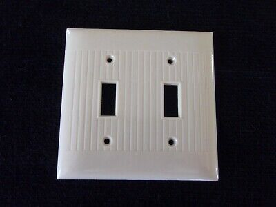 Vintage Sierra Double Gang 2-Switch Plate Ivory Cream Bakelite Ribbed USA