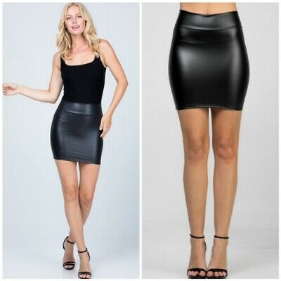 Black Faux Leather Mini Skirt Great Quality Vegan Skirt Imported from Madrid