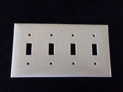 Vintage Sierra Quadruple 4 Gang Switch Plate Ivory Cream Bakelite Ribbed USA **