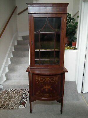 Antique Victorian / Edwardian Inlaid Marquetry Mahogany Display,Cabinet bookcase