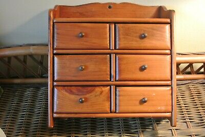 Antique Easton Mass. Made Spice Box Cabinet Wooden Chest 6 Drawers Apothecary