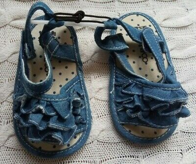 BNWT New with tags Girl blue denim Sandals Shoes 9-12 months 74-80cm