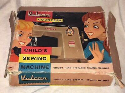 VINTAGE BOXED VULCAN COUNTESS CHILDS HAND OPERATED SEWING MACHINE 1950s/ 60s