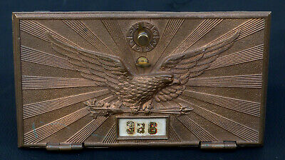 VTG Antique Bronze US Post Office Mail Box Door Bracket EAGLE Large w/ Combo
