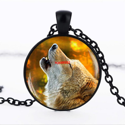 Howling Wolf necklace photo Glass Dome Chain Pendant Necklace wholesale jewelry
