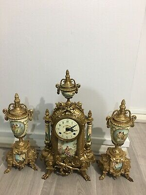 Continental Gilt And Porcelain Mantel Clock Garniture Urns  Floral Not Working.