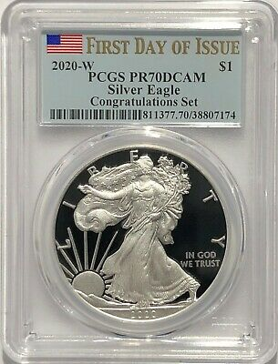 2020 W $1 Congratulations Set Pcgs Pr70 Dcam First Day Issue Silver Eagle Fdoi