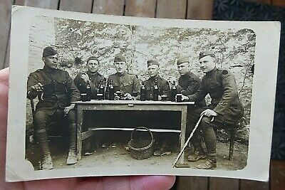 ca 1917 NAMED WW1 US ARMY SOLDIERS DRINKING BEER REAL PHOTO POSTCARD RPPC