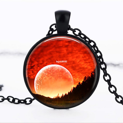 Sunset forest necklace Sky photo Glass Dome Chain Pendant Necklace wholesale
