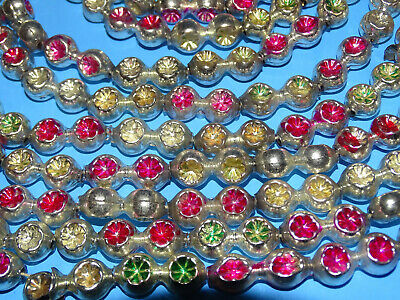 Antique Victorian Christmas Mercury Glass Garland Double Beads Red Gold Green