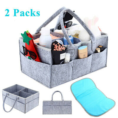 2 Pack Large Baby Diaper Caddy Basket Organizer for Changing Table and Car, Gray