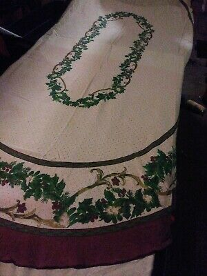 """Vintage cream tablecloth with burgandy border & flowers 60"""" X 84"""" Oblong"""
