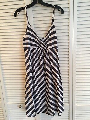 Old Navy Maternity Dress Size Large Gray And White Striped Spaghetti Straps