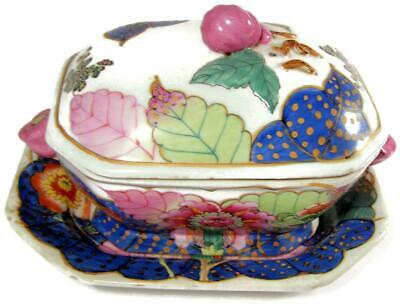 Chinese Export Tobacco Leaf 3 Piece Sauce Tureen Lid & Tray Stand