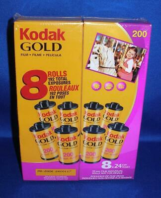 Sealed KODAK Gold 200 ISO 8 Pack Color Film 24 Exposures Per Roll Expired 8/2008