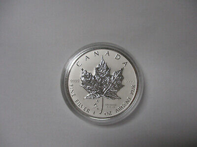 2005 CANADA 1 oz .9999 SILVER Reverse Proof $5 MAPLE LEAF with TULIP PRIVY MARK