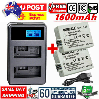 AU LP-E5 Battery+USB LCD Charger For Canon EOS 1000D 450D 500D Rebel XSi,Kiss X2