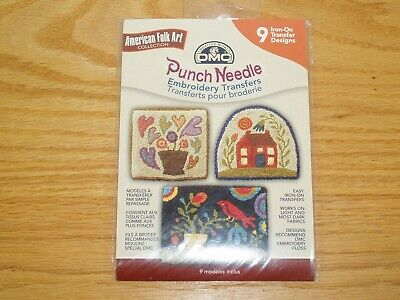 DMC PUNCH NEEDLE EMBROIDERY TRANSFERS - AMERICAN FOLK ART 9 Iron On Designs NIP
