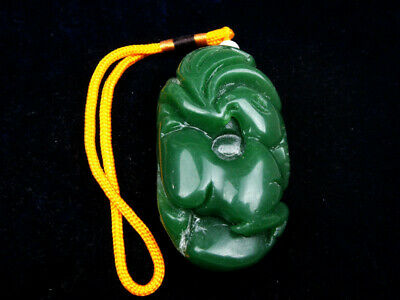 HeTian Jade EXTRA LARGE Pendant Sculpture Ancient Monster Bird Big Tail #032319