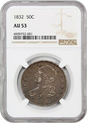 1832 50c NGC AU53 (Small Letters) Nice Type Coin - Bust Half Dollar