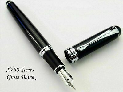 Jinhao X750 Gloss Black Fountain Pen 0.7mm Broad Nib 18KGP Silver Trim