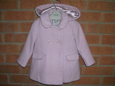 NEXT Girls Pink Hooded Trench Coat Winter Jacket Age 12-18m 86cm