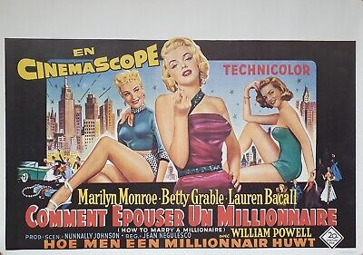 How To Marry A Millionaire Marilyn Belgian  Movie Poster - Near Mint Condition