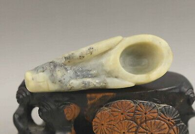 Chinese old natural jade hand-carved dragon ancient tea spoon