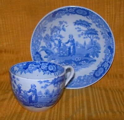 Antique Spode Girl At Well Pattern Demitasse Cup & Saucer
