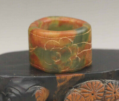 Old Chinese natural jade hand-carved flower ring