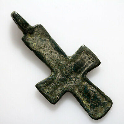 Ancient Byzantine Bronze Christian Cross Pendant Circa 500-700 Ad-Wearable