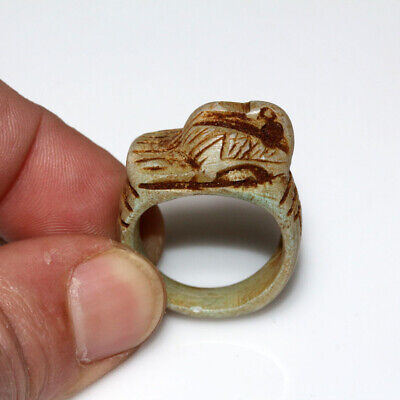 Intact-Egyptian Glaze Ring-Animal On The Top- Ca 100 Bc - Ad
