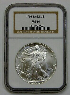 1993 - Silver American Eagle - NGC MS 69 - Brown Label
