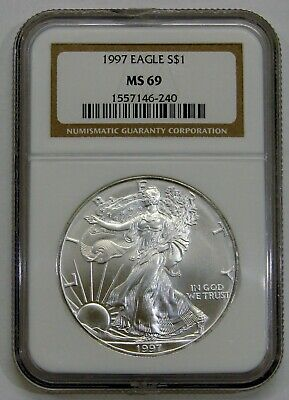 1997 - Silver American Eagle - NGC MS 69 - Brown Label