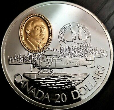20 Dollars Canada Aviation  1993 PROOF .925 SILVER