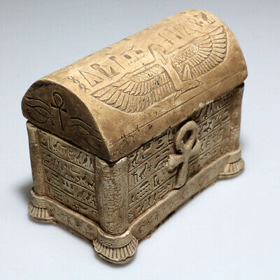 MUSEUM QUALITY UNDATED EGYPTIAN STONE DECORATED SAFE BOX-907 grams